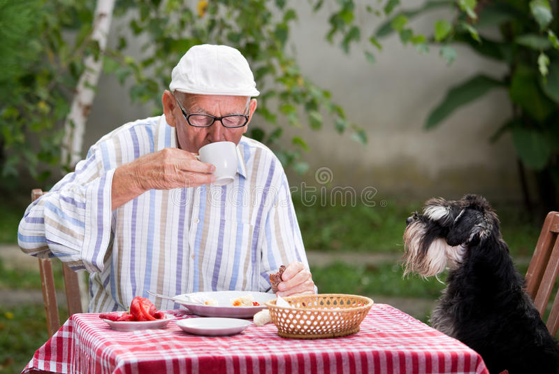 Starszy mężczyzna pije kawę w ogródzie zdjęcie royalty free