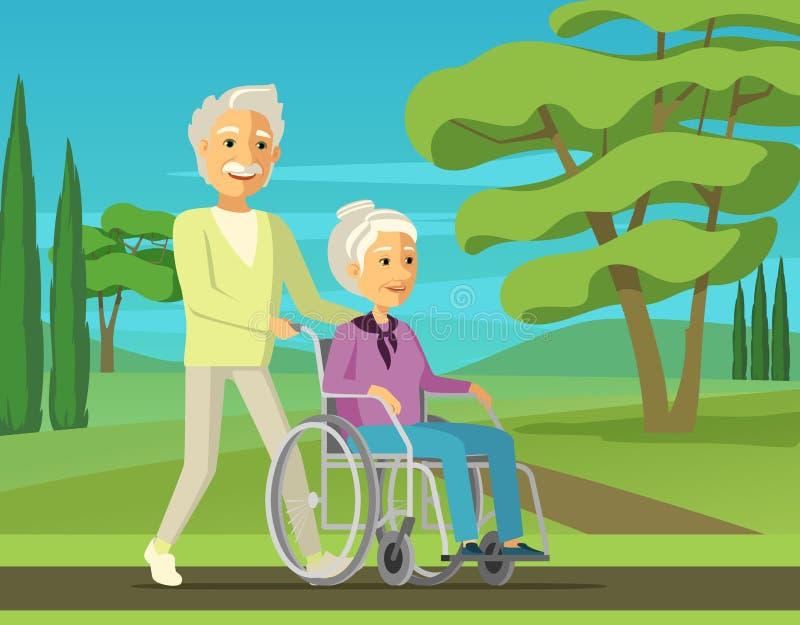 Starszy mężczyzna spaceruje z jego niepełnosprawną żoną w jej wózku inwalidzkim royalty ilustracja