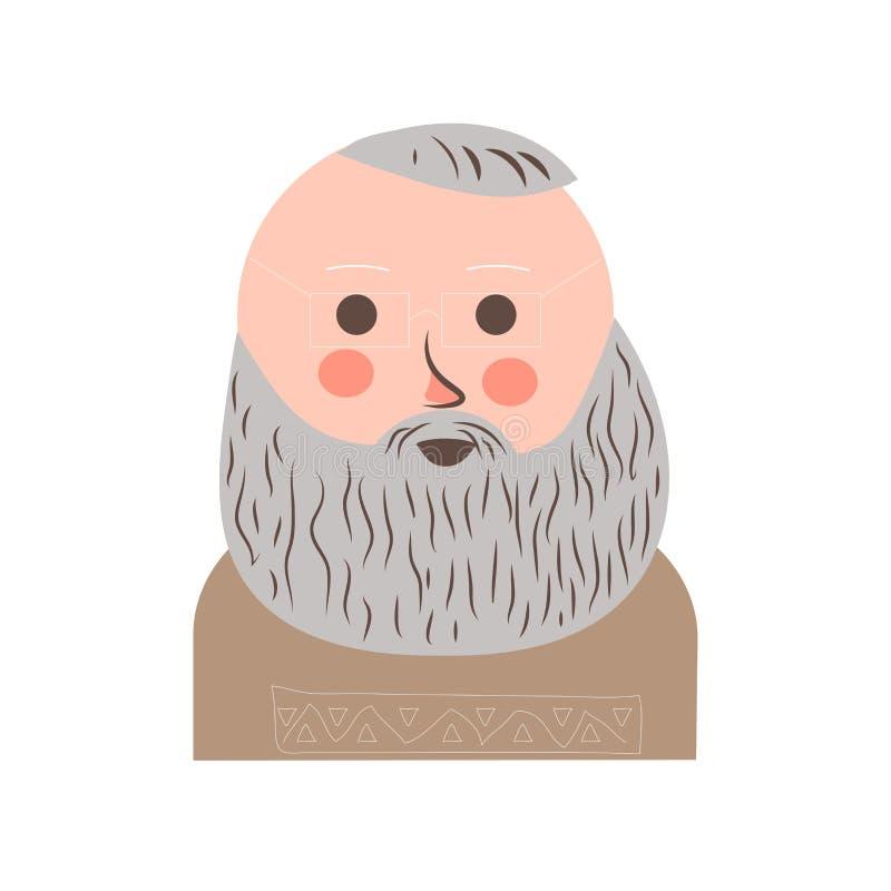 Starszy mężczyzna z popielatym włosy i broda portretem royalty ilustracja