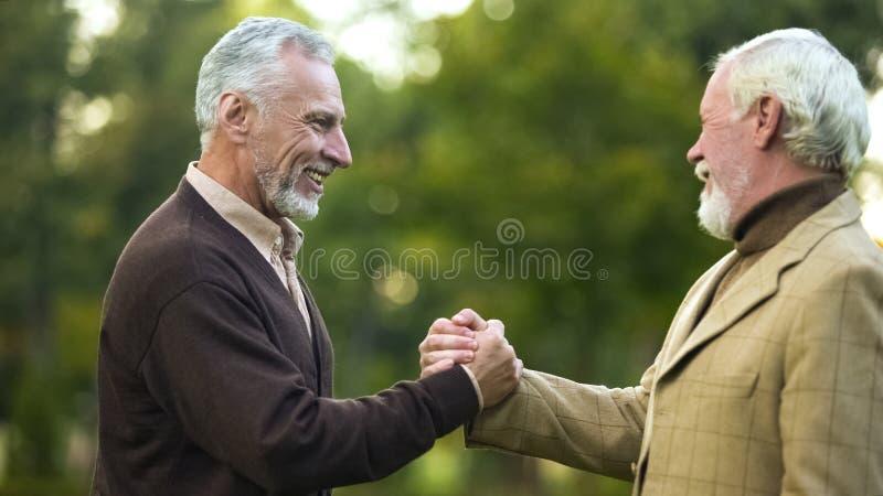 Starszy męscy przyjaciele trząść ręki, szczęśliwe widzieć each inny, braci spotykać obraz stock
