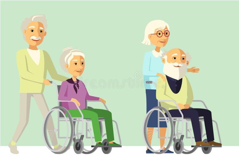 Starszy obywatel z kamratem w wózku inwalidzkim ilustracja wektor