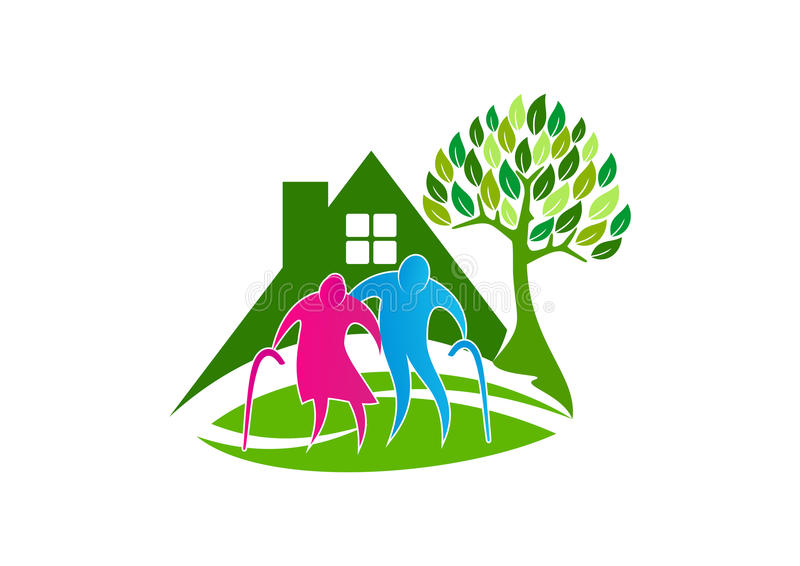 Starszy opieka logo, starzy ludzie symbol ikony, zdrowy karmiącego domu pojęcia projekt royalty ilustracja