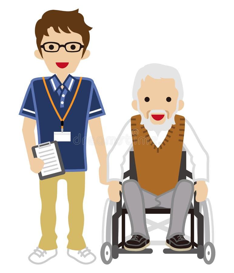 Starszy opiekun i Starszy mężczyzna używa wózek inwalidzkiego ilustracji