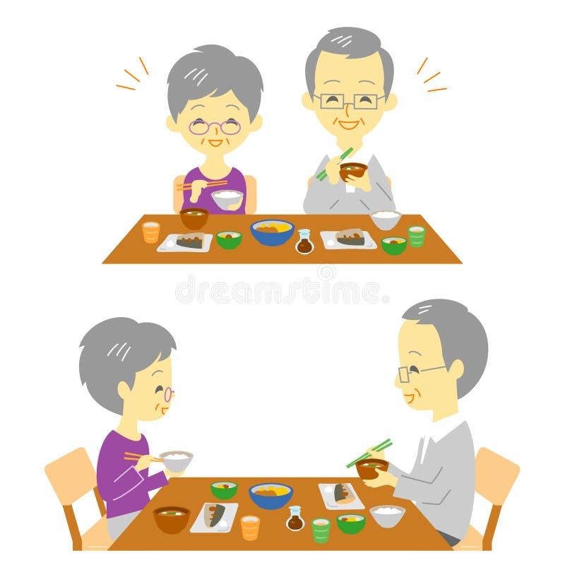 Starszy para japończyka posiłek ilustracja wektor