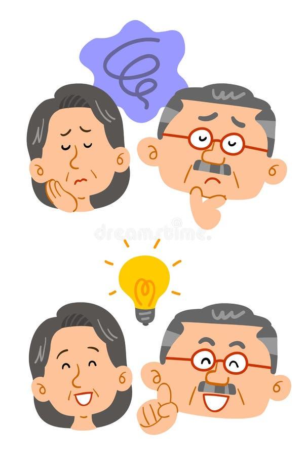 Starszy para kłopot i set rozwiązania, bogaci zamożni ludzie ilustracji