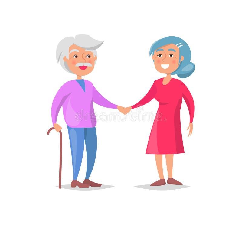 Starszy para spacer Wpólnie, babcia i dziadunio, royalty ilustracja