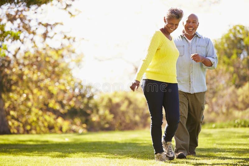 Starszy pary odprowadzenie Przez jesień lasu zdjęcia royalty free