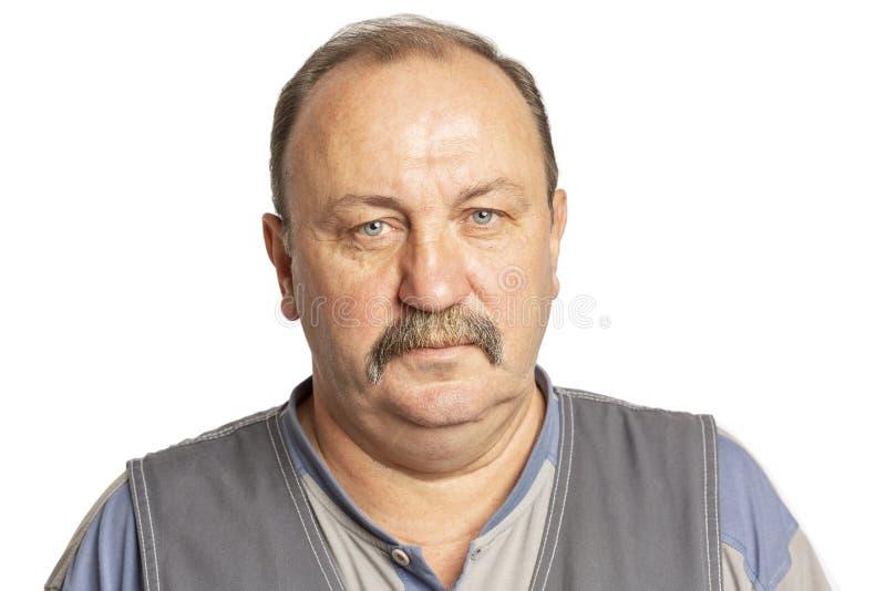 Starszy poważny mężczyzna z wąsy, zakończenie fotografia royalty free