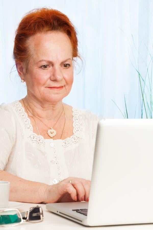 Starszy wyszukuje internet obraz stock