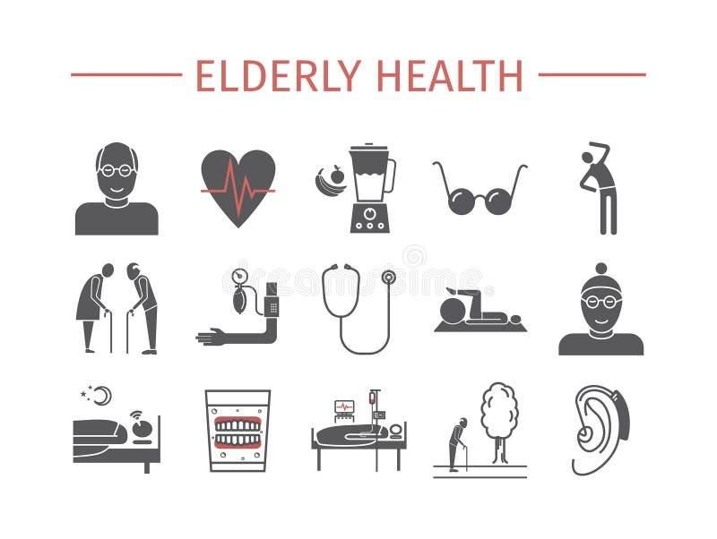 Starszych zdrowie płaskie ikony ustawiać Wektorowy infographics ilustracja wektor