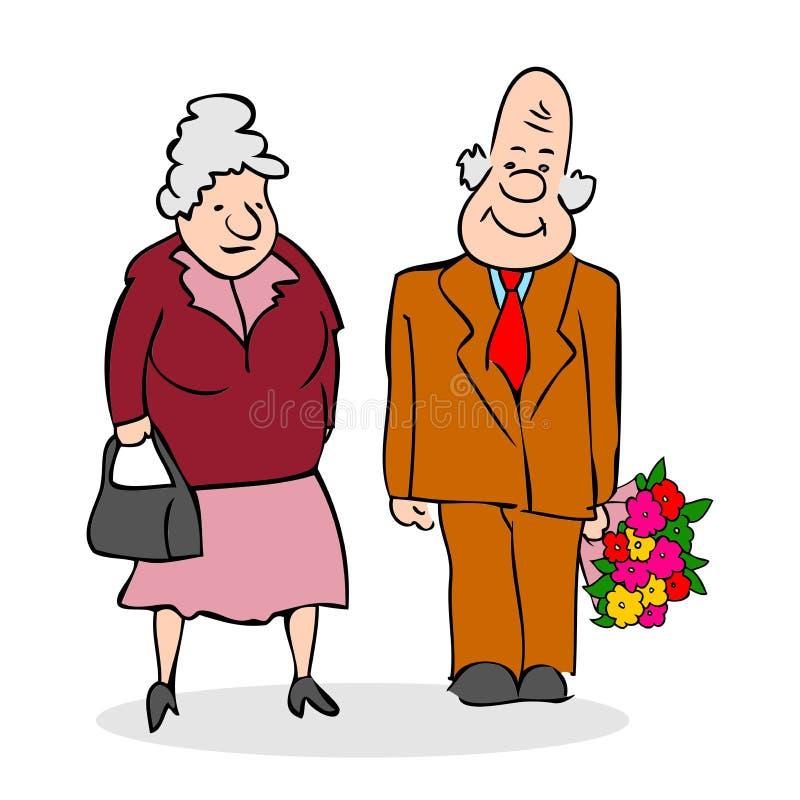 starszyzna szczęśliwych par Stary człowiek z bukietem kwiaty elderly ilustracji