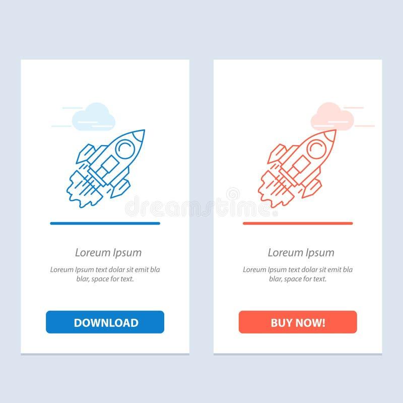 Start, affär, mål, lansering, beskickning, rymdskeppblått och röd nedladdning och att köpa nu mallen för rengöringsdukmanickkort stock illustrationer