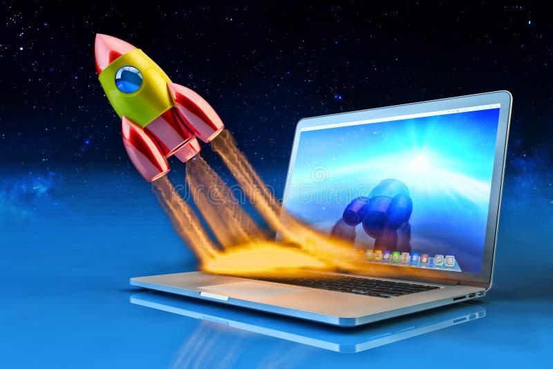 Start, affärsinnovation och idérikt teknologibegrepp stock illustrationer