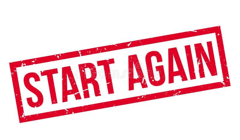 Start Again rubber stamp stock illustration