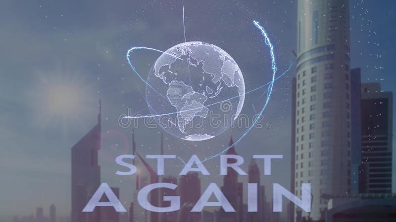Start Again text with 3d hologram of the planet Earth against the backdrop of the modern metropolis royalty free illustration