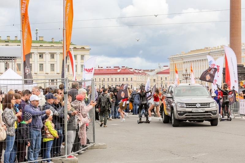 The start area of the rally on Palace Square royalty free stock photography