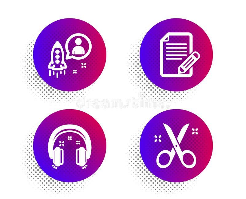 Start-, Artikel- und Kopfhörerikonensatz Scherenzeichen Entwickler, Feedback, Kopfhörer Schneidwerkzeug Vektor lizenzfreie abbildung