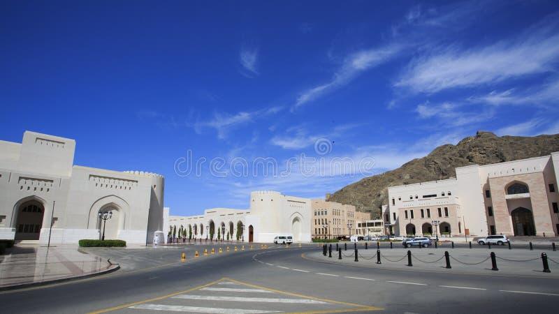 Start av kolonnaden i gamla Muscat royaltyfria bilder