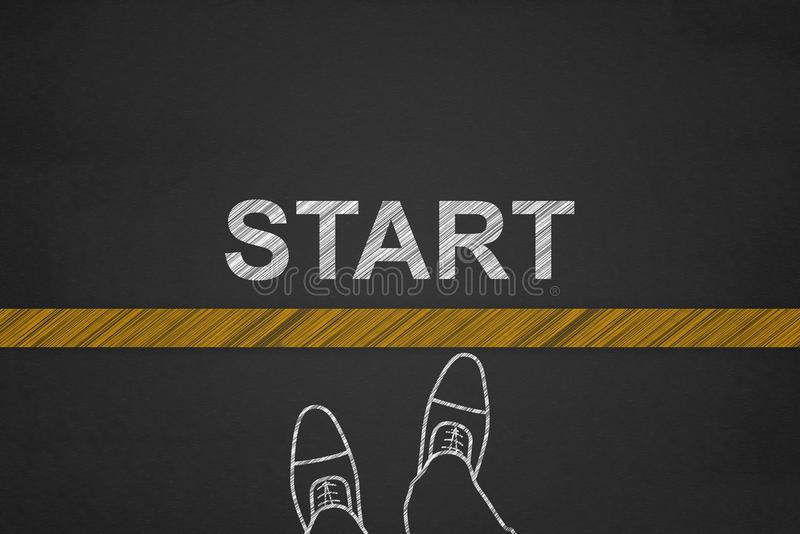Start background, Top view of Businessman on Start line on a blackboard, Business Challenge or do something new royalty free stock images