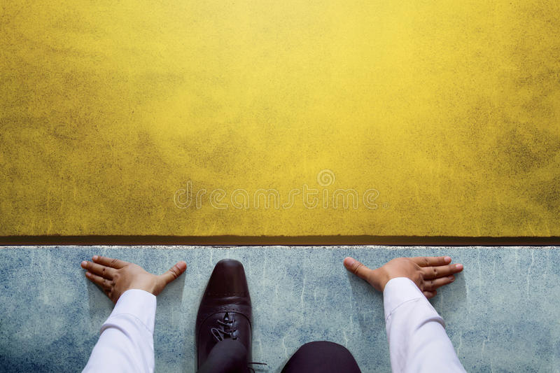 Start background, Top view of Businessman on Start line, Business Challenge or do something new royalty free stock image