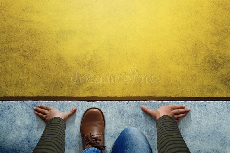 Start background, Top view of Man on Start line, Business Challenge or do something New Concept royalty free stock photos