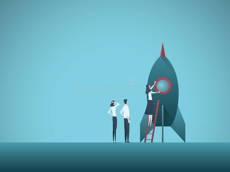 Start bedrijfs vectorillustratie met team van zakenlui en raket Symbool van innovatie, nieuwe uitvinding, stock illustratie