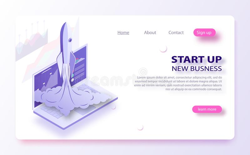 Start bedrijfsconcept De ruimtevaartuigneerstortingen buiten laptop het scherm Concept nieuw bedrijfsproject vector illustratie