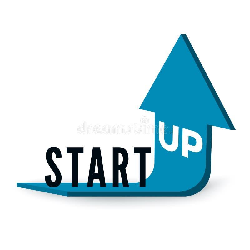 Start bedrijfsconcept Tekstopstarten op blauwe pijl die naar omhoog wordt gebogen en geleid Vector vector illustratie