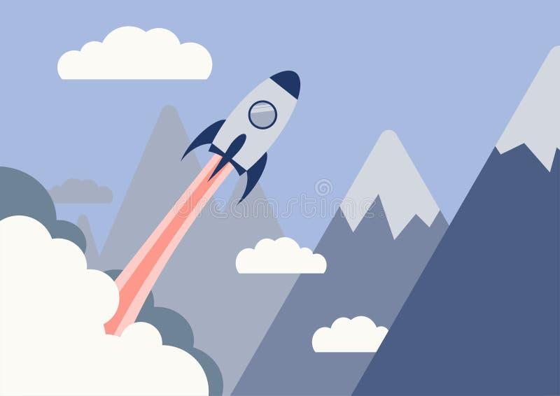 Start bedrijfsconcept, vlak ontwerp, raketwolk en berg royalty-vrije stock foto's
