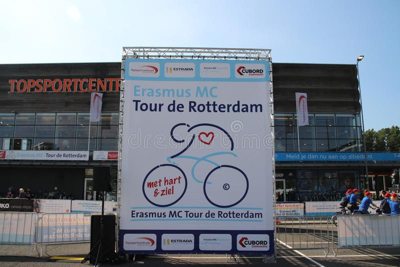 Start of bicycle run for charity, for research of cancer at the Erasmus Medical Center in Rotterdam named Tour de Rotterdam. Start of bicycle run for charity stock photos