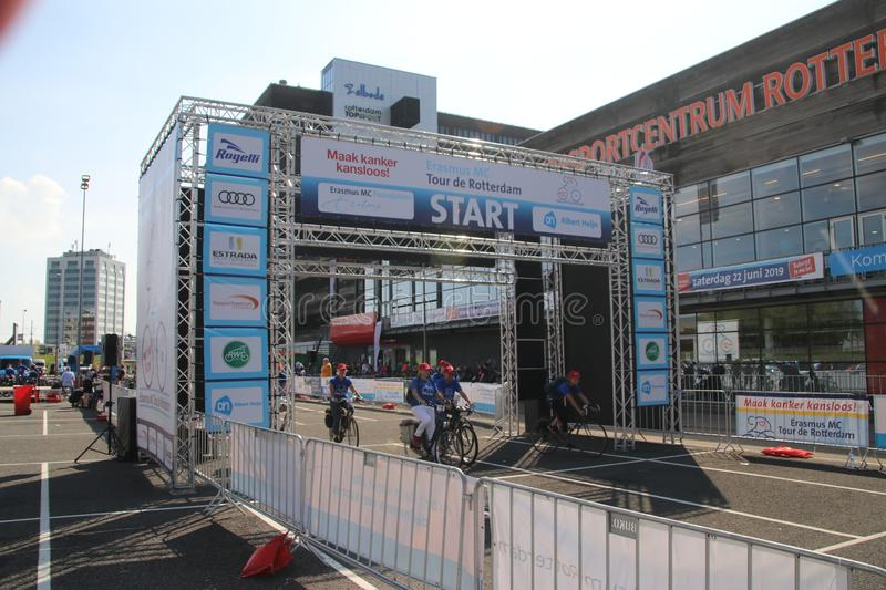 Start of bicycle run for charity, for research of cancer at the Erasmus Medical Center in Rotterdam named Tour de Rotterdam. Start of bicycle run for charity stock image