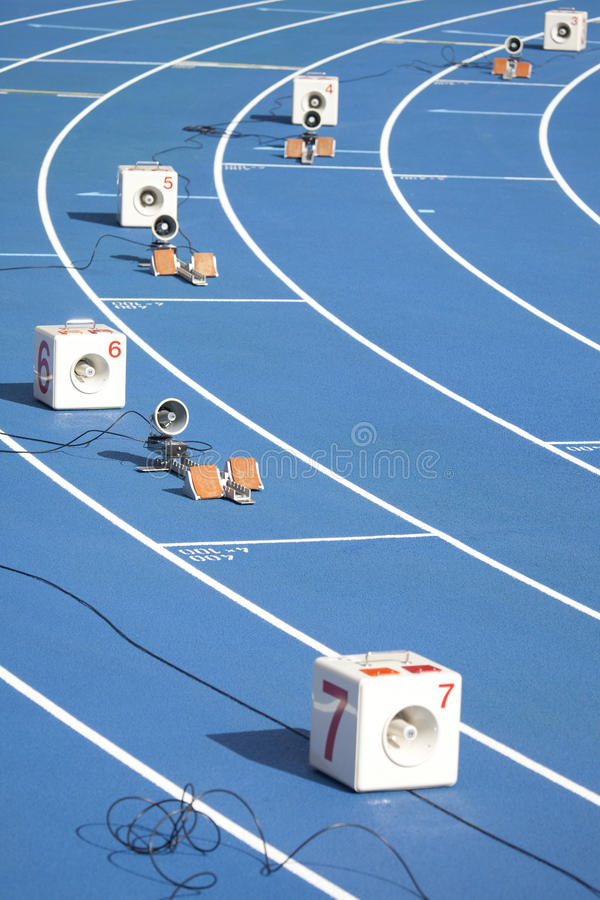 Start block of sprinters