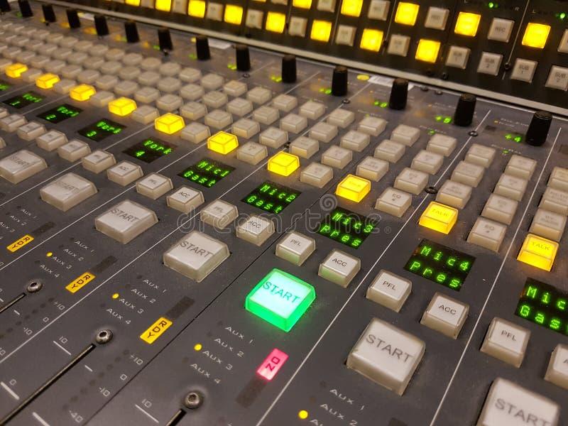 Start button radio dj studio diskjockey. Mixtable in radio studio start button royalty free stock photos