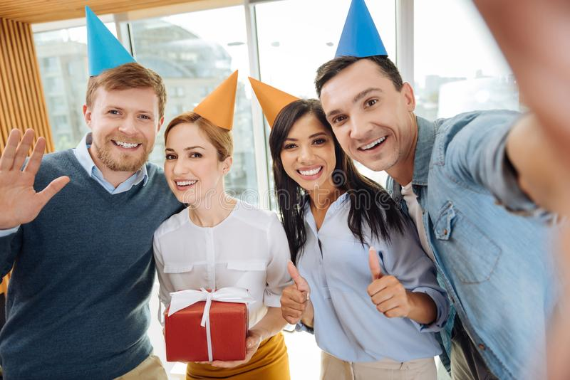 Happy colleagues having great party royalty free stock images
