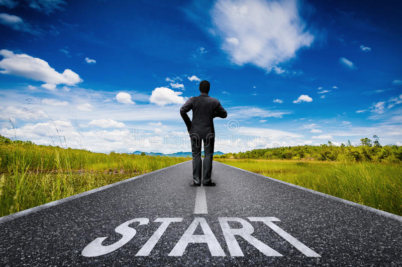 Start concept with businessman royalty free stock image