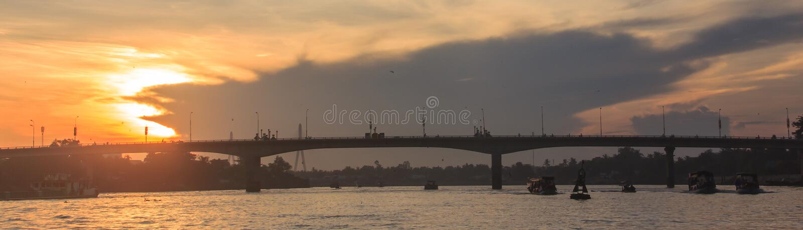 Start the day with Beautiful Summer Sunrise Morning View at Quang Trung bridge near Can Tho Float Market, Hau River, Can Tho, Viet. Nam royalty free stock photo