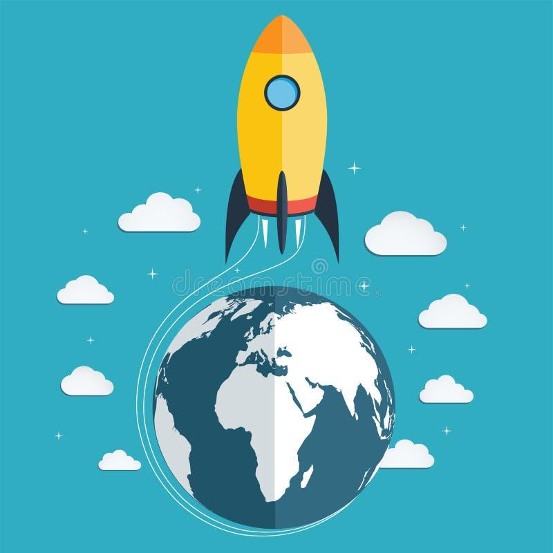 Start de ruimteraket in ruimte op royalty-vrije illustratie
