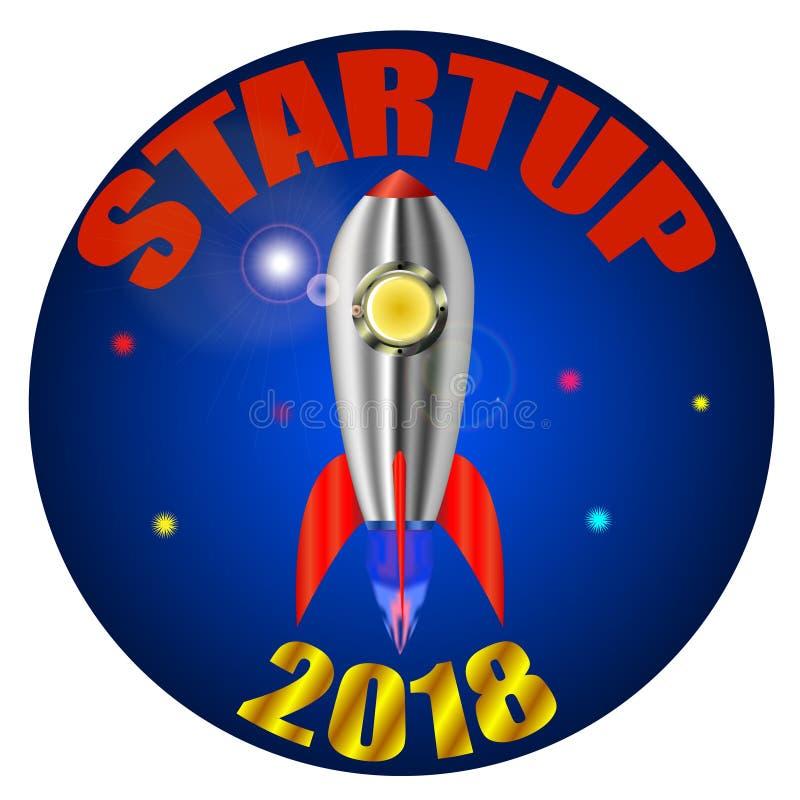 Start, eine Rakete, die weg startet lizenzfreie abbildung