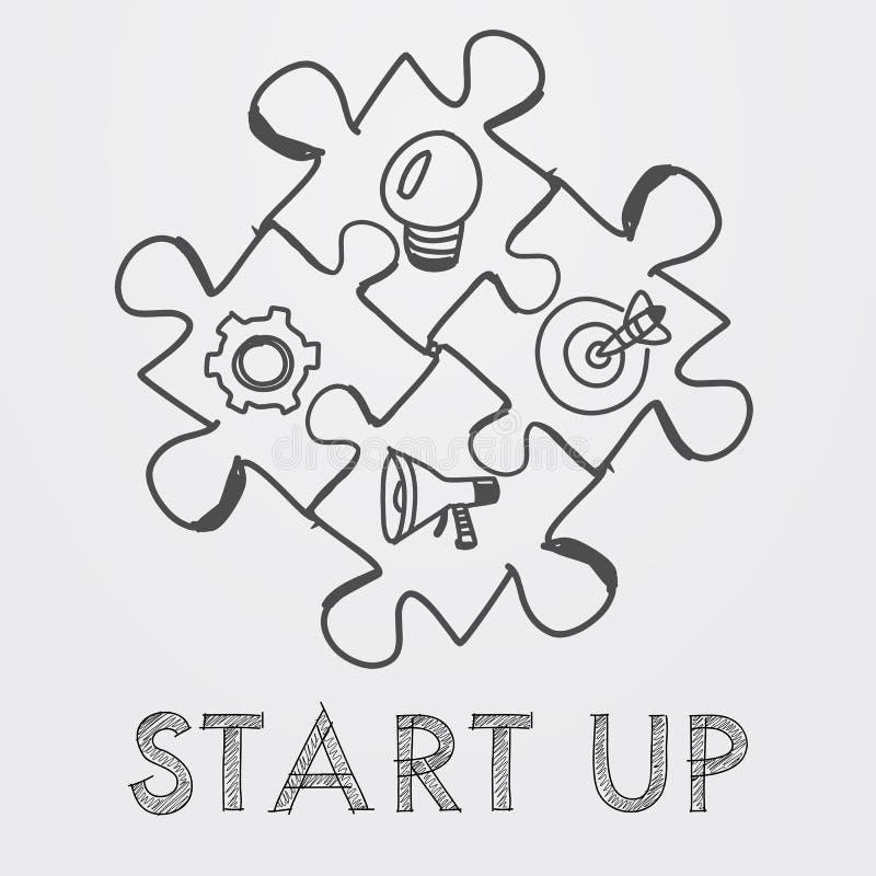 Start en bedrijfsconceptentekens in raadselstukken stock illustratie