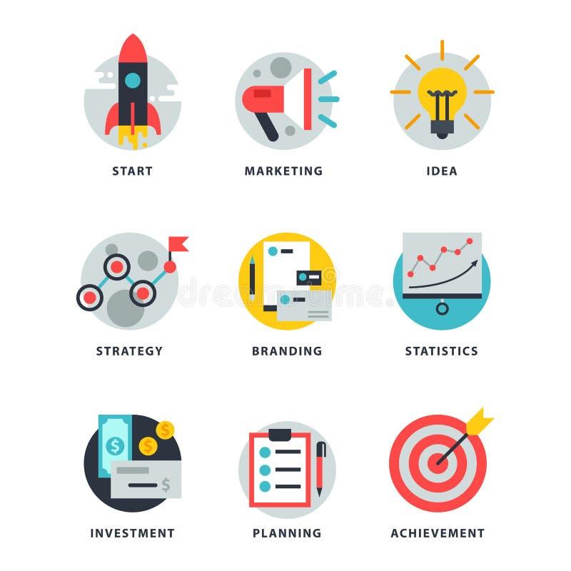 Start en strategieweb bedrijfsdiepictogram voor de financiën van het start websites ui beheer vectorillustratie wordt geplaatst vector illustratie