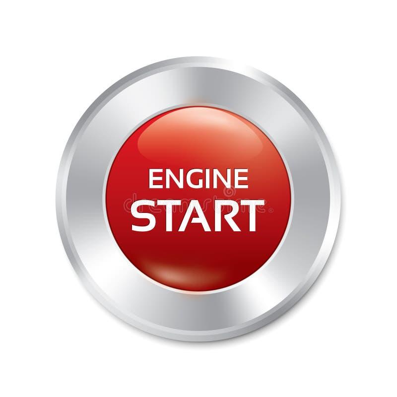 Start Engine button. Vector red round sticker. stock illustration