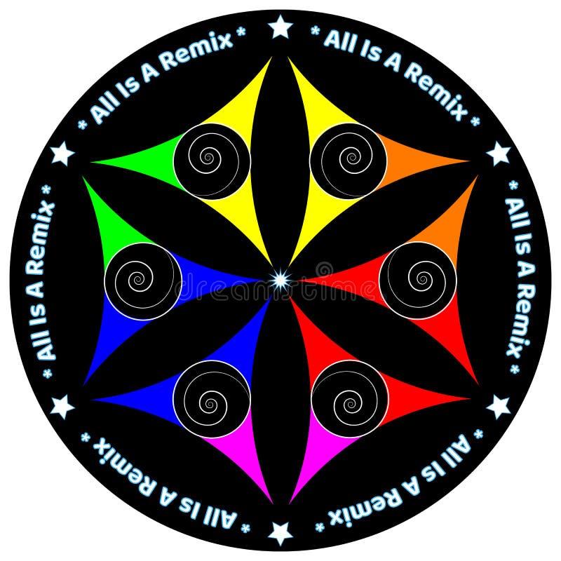 Start för förälskelse för fred för Mandalauniversumfärg royaltyfri bild