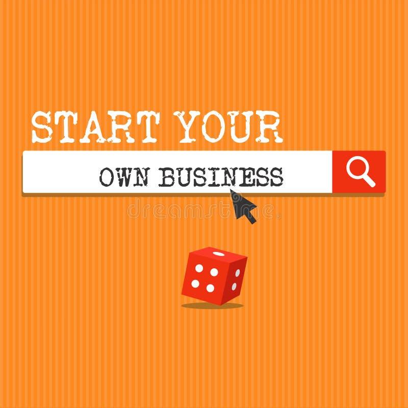Start för handskrifttexthandstil din egen affär Begrepp som betyder företagsamt företag som en start skriver in in i handel royaltyfri fotografi