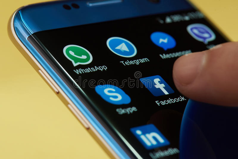 Start facebook application icon stock images