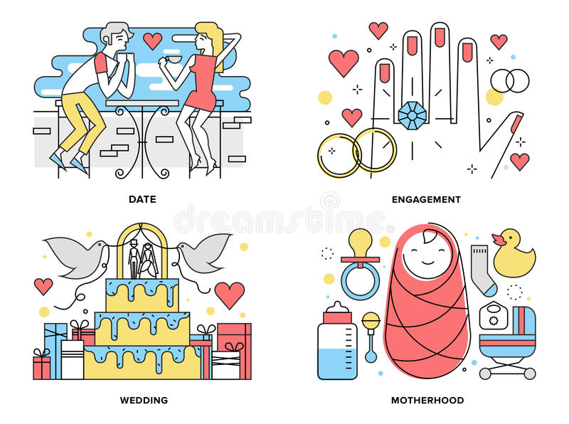 Start a family flat line illustration. Flat line illustration set of start a happy family, couple first date romance, ring engagement and wedding ceremony royalty free illustration