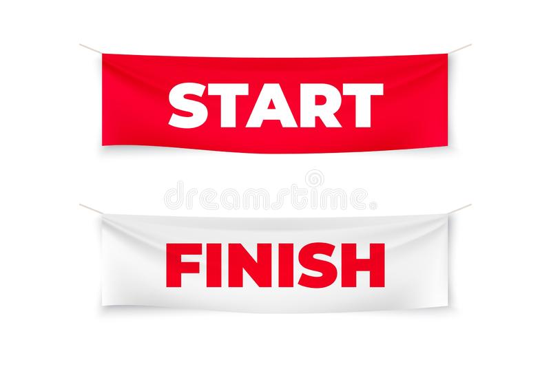 Start and finish realistic banners. Flags for outdoor sport event. Vector streamers for competition race, run marathon. Start and finish realistic banners. Flags vector illustration