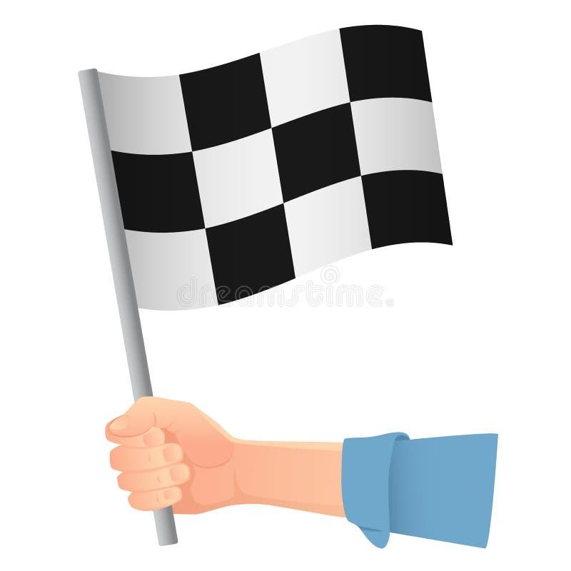 Start flag in hand vector illustration