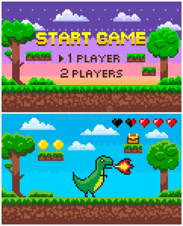 Start Game Dinosaur with Fire, Pixel Character stock illustration