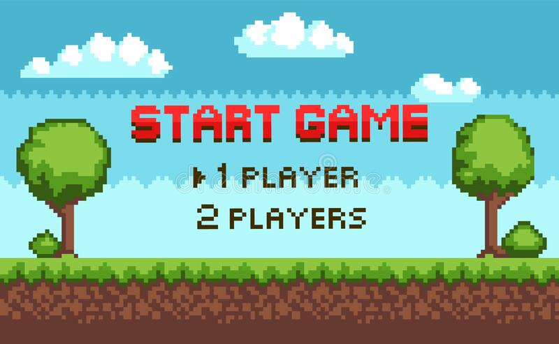 Start Game Players Choice, Arcade Scenery Pixel vector illustration