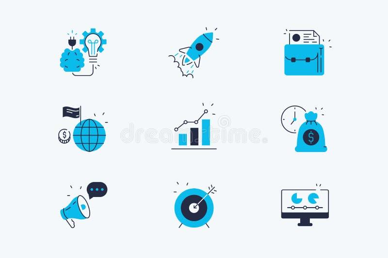 Start Geplaatste Lijnpictogrammen stock illustratie